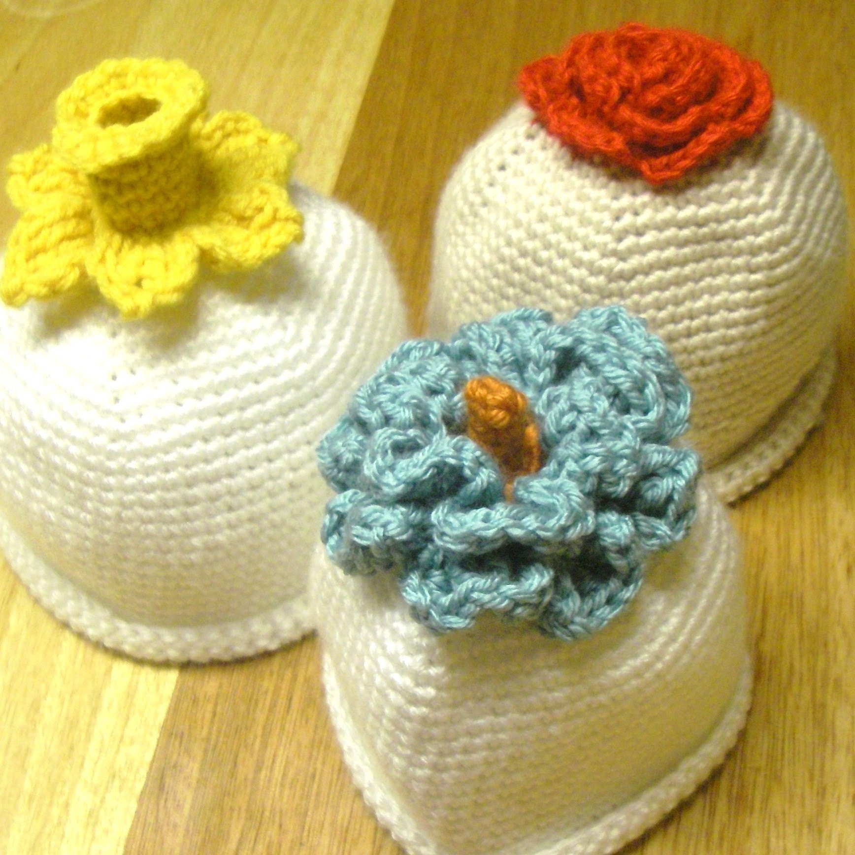 Instant Download - Crochet Pattern - 3 different flower hats (Newborn to adult)