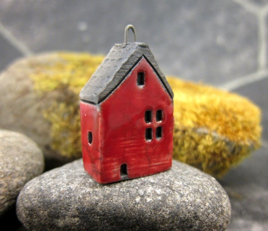 Red...Saggar Fired Rustic House Pendant / Ornament - elukka