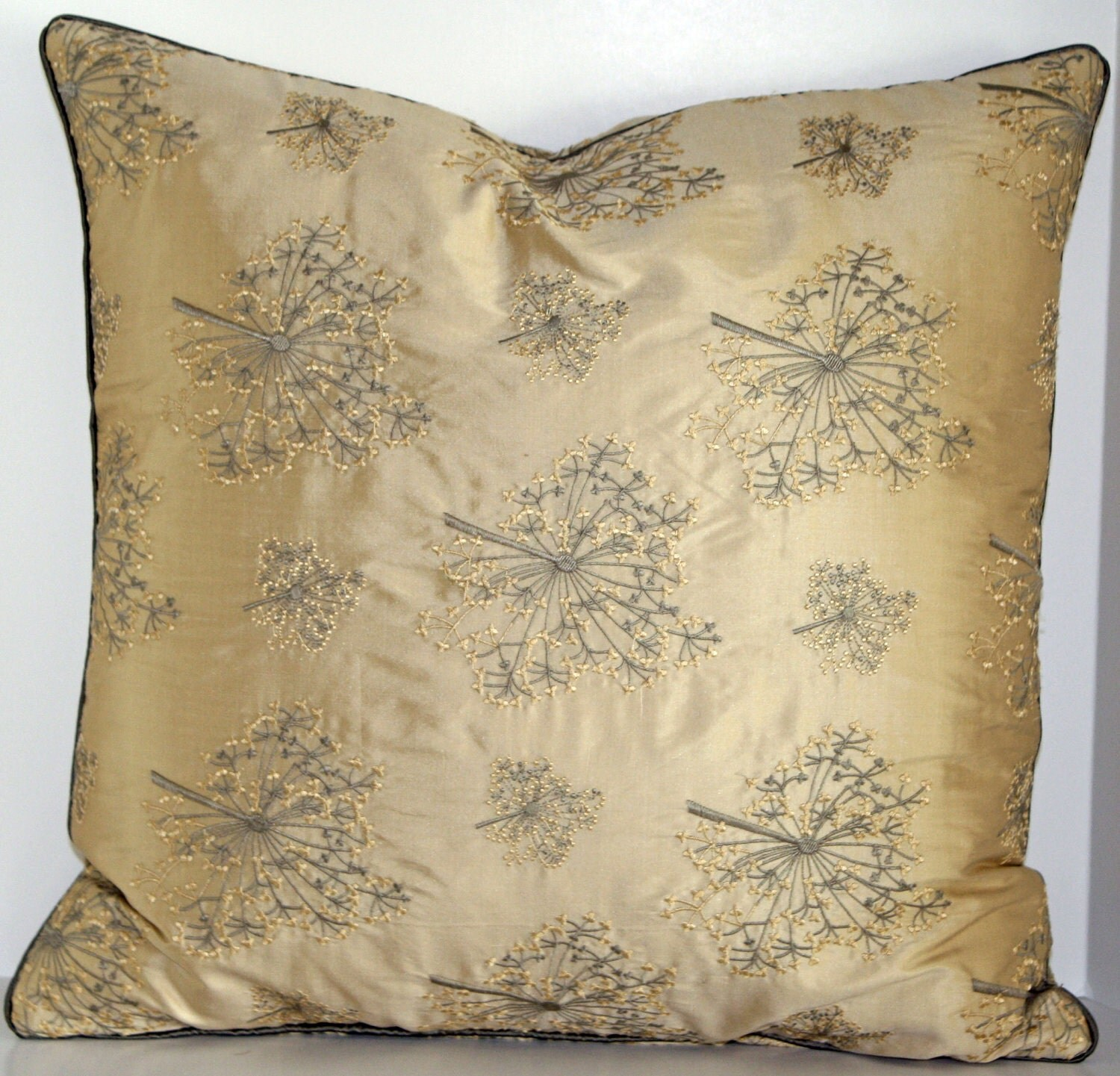 Decorative Pillow Cover - Mimosa/Beige - 18 inch - Embroidered silk pillow - Creamy Beige - Gray Taupe - AbbysHome
