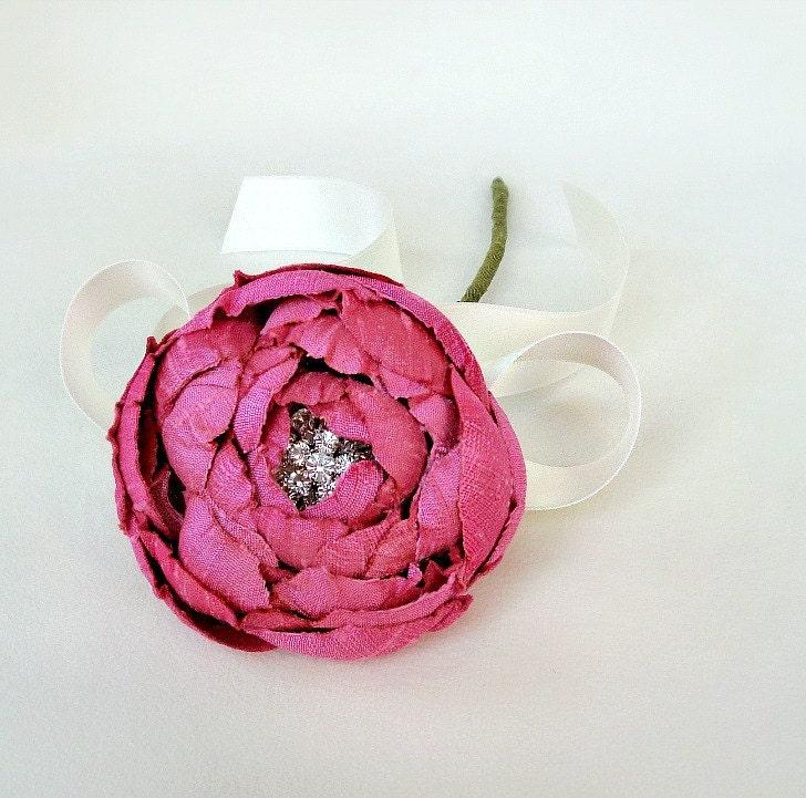 Катала Блум Одноместный стволовых Малиновый Розовый Dupioni - образец ПРОДАЖИ