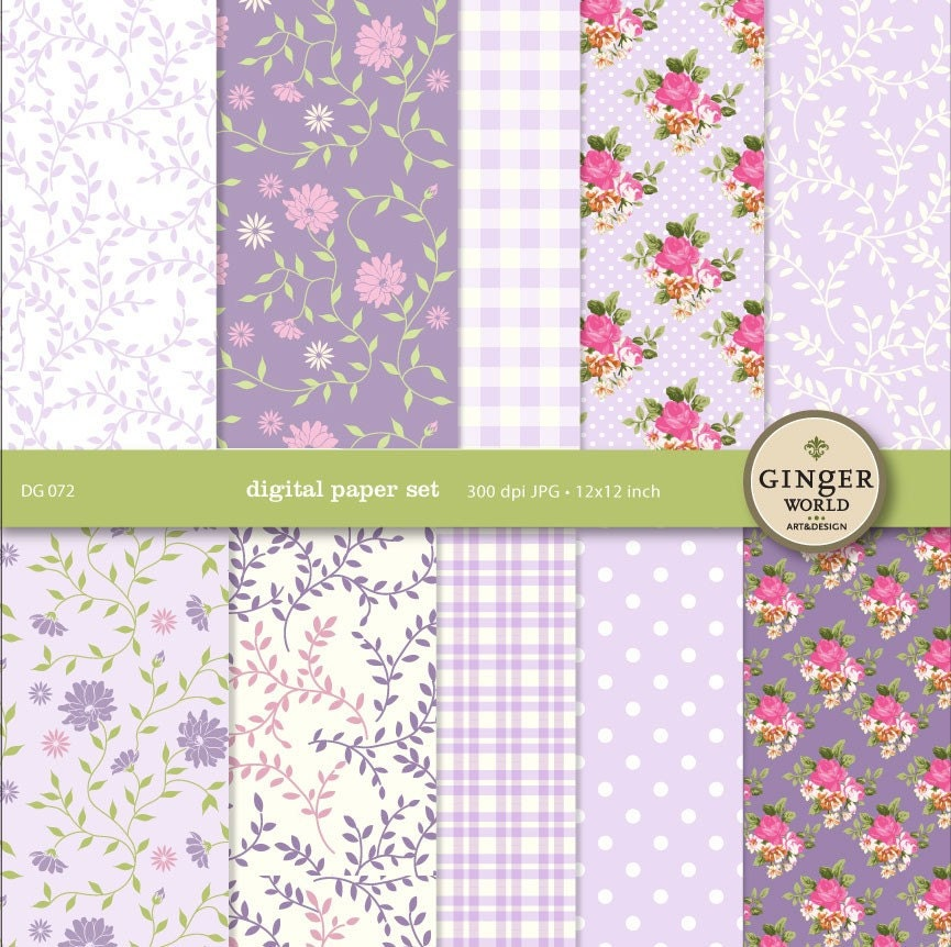 Lavender Garden Digital Paper pack for scrapbooking DIY wedding invitation