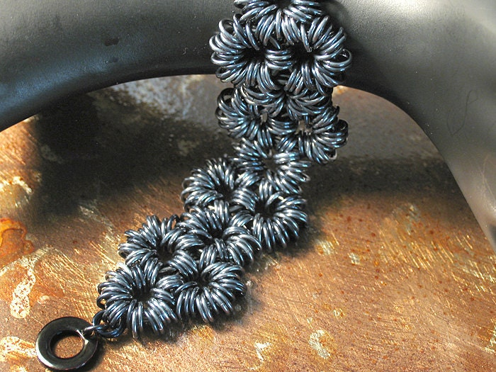 Women's Chain Link Bracelet - Iridescent Gunmetal Gray, Black - Metal, Size Medium - Ready to Ship