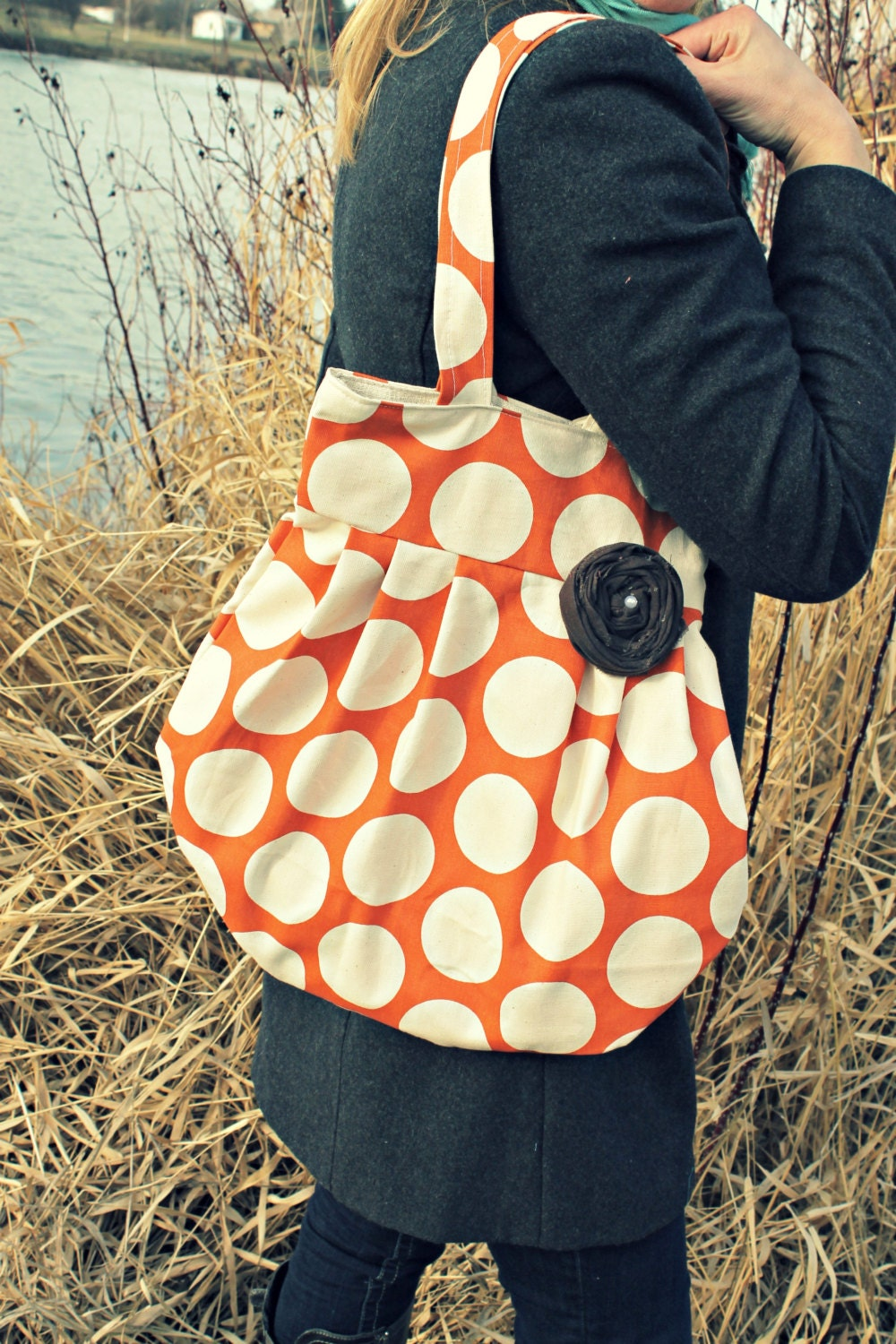 Large Orange and Cream Polka Dot Handbag