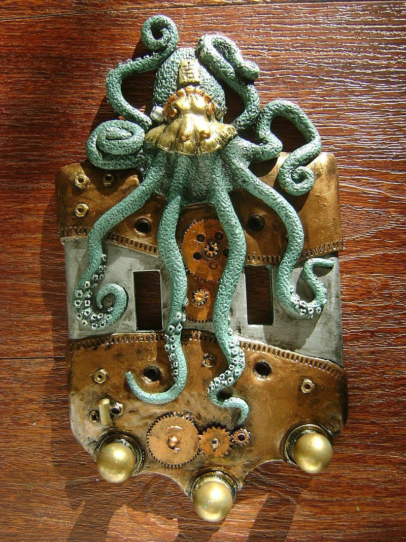 Green Steampunk Octopus Double Light Switch Cover, key chain holders. Animal, wall art, sculpture, wall decor, decorative arts. - SookeSculptures