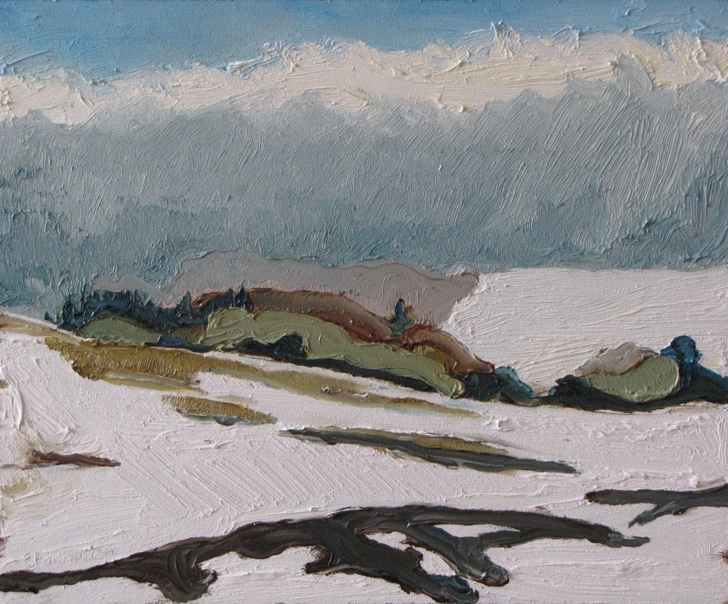 """Fournier Appalachian Plein Air Oil Painting Quebec Canada """"The White Hills """" 10"""" x 12"""" - Fournierpainter"""