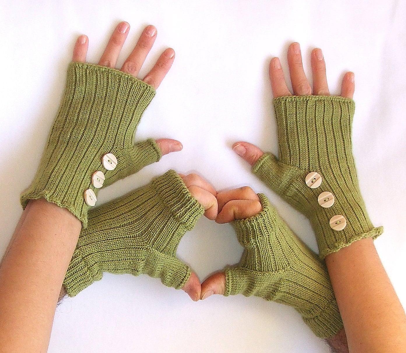 """دستکش Fingerless """"به ولنتاین من"""" -- دو جفت -- یکی برای او ، یکی برای او -- سبز"""