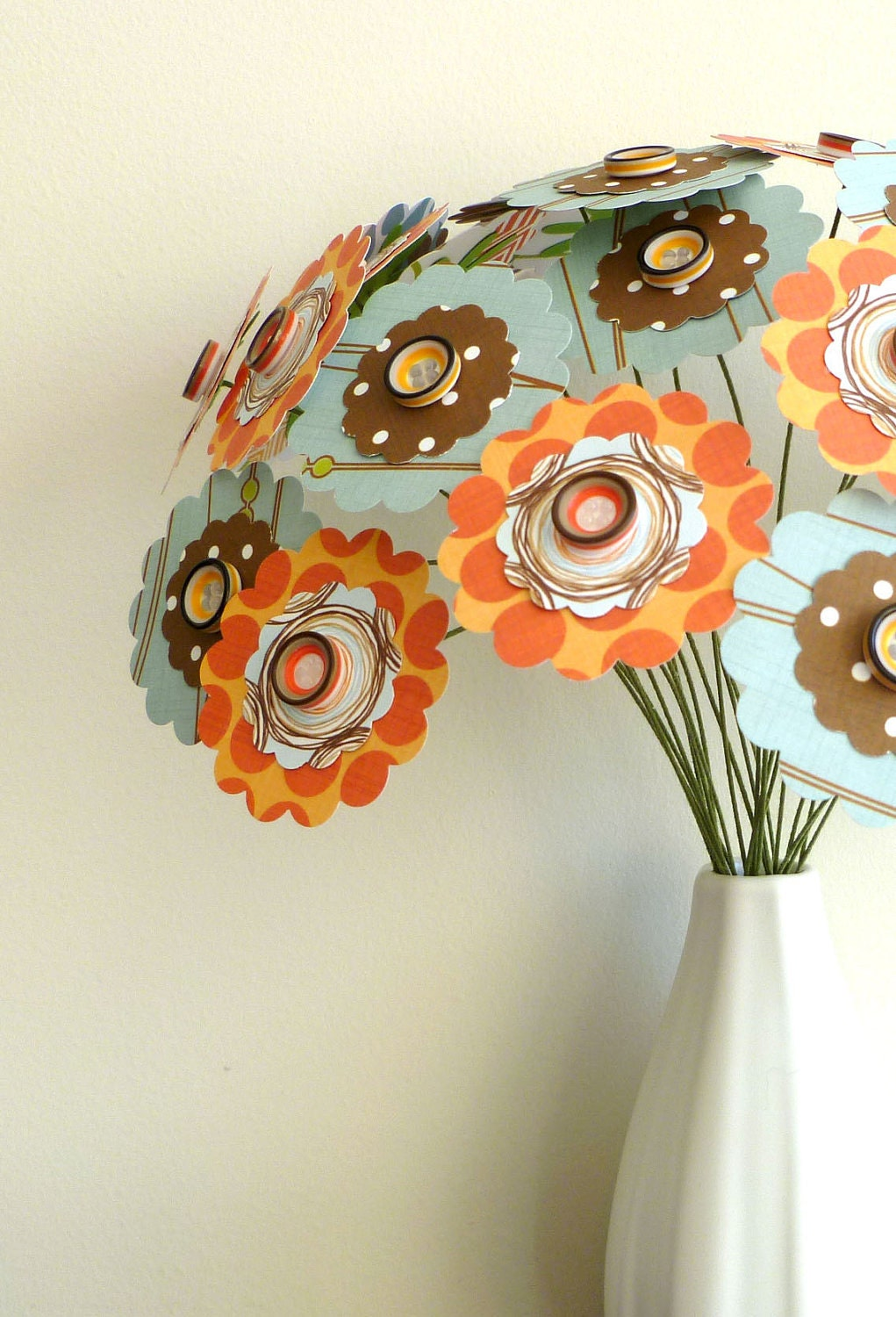 "Paper Flower Bouquet - Patterned Orange Blue and Brown 24 stems 11"" Retro"