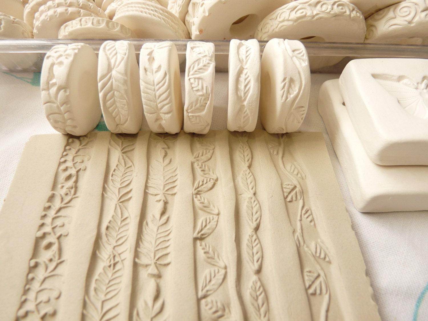 Leaf Vine And Blossom Theme Clay Stamp Roller Set Of By