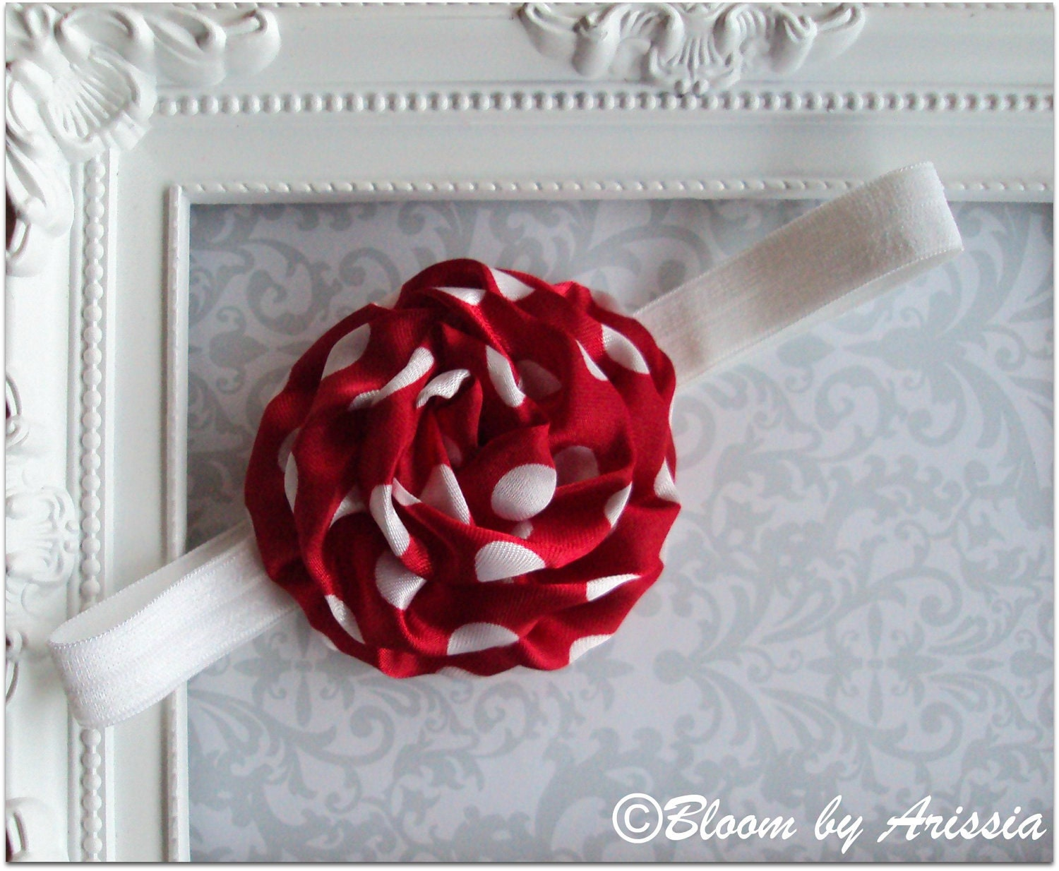 Simply chic collection .  red and white dots rosette headband