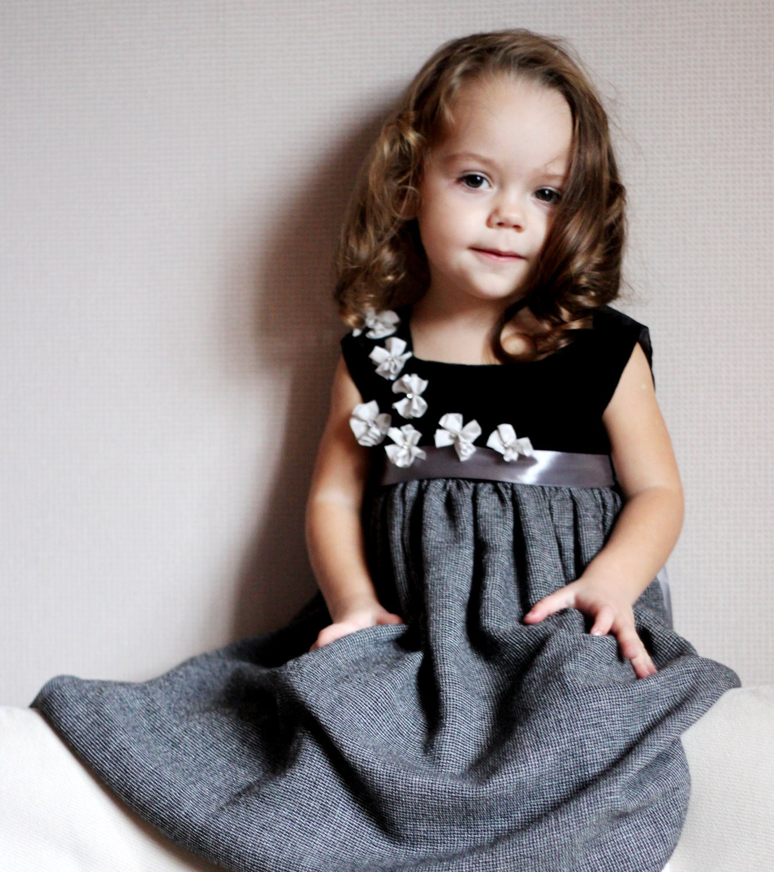 Girls grey dress black with flowers /hmet/eco friendly/rusteam / team madcap/unusual design/ crazyadsteam - Maliposhaclothes