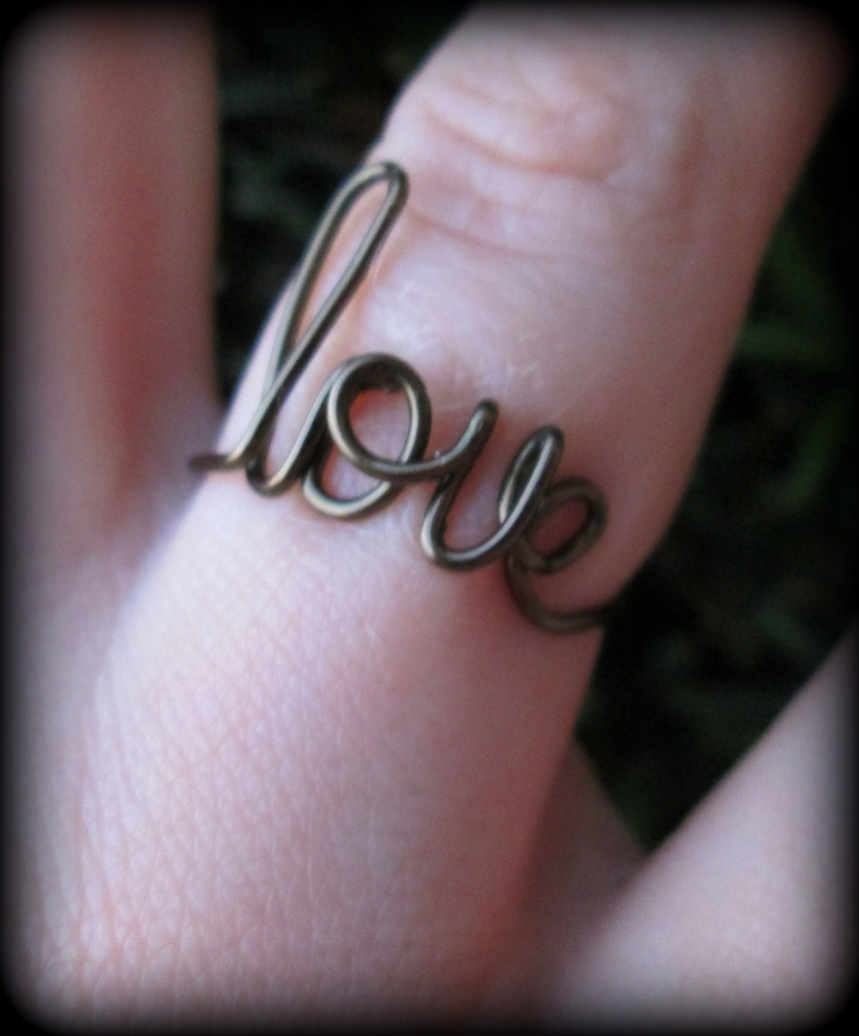 love jewelry.wire love rings.custom word rings.gift box included.weddings.bridemaids gifts.fast shipping.