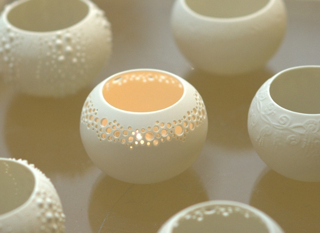 Porcelain Tea light Delight - Candle holder N.1. Contemporary ceramic lighting. Designed and crafted by Wapa Studio. - wapa