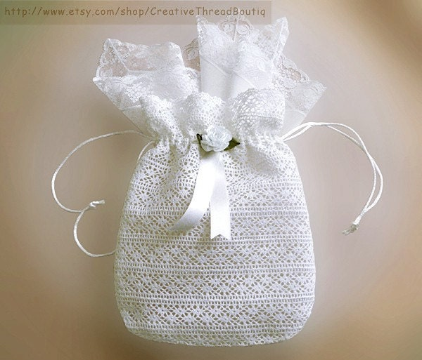 White French Cotton Lace Bridal Bag White Lace Wedding Purse Wedding Money