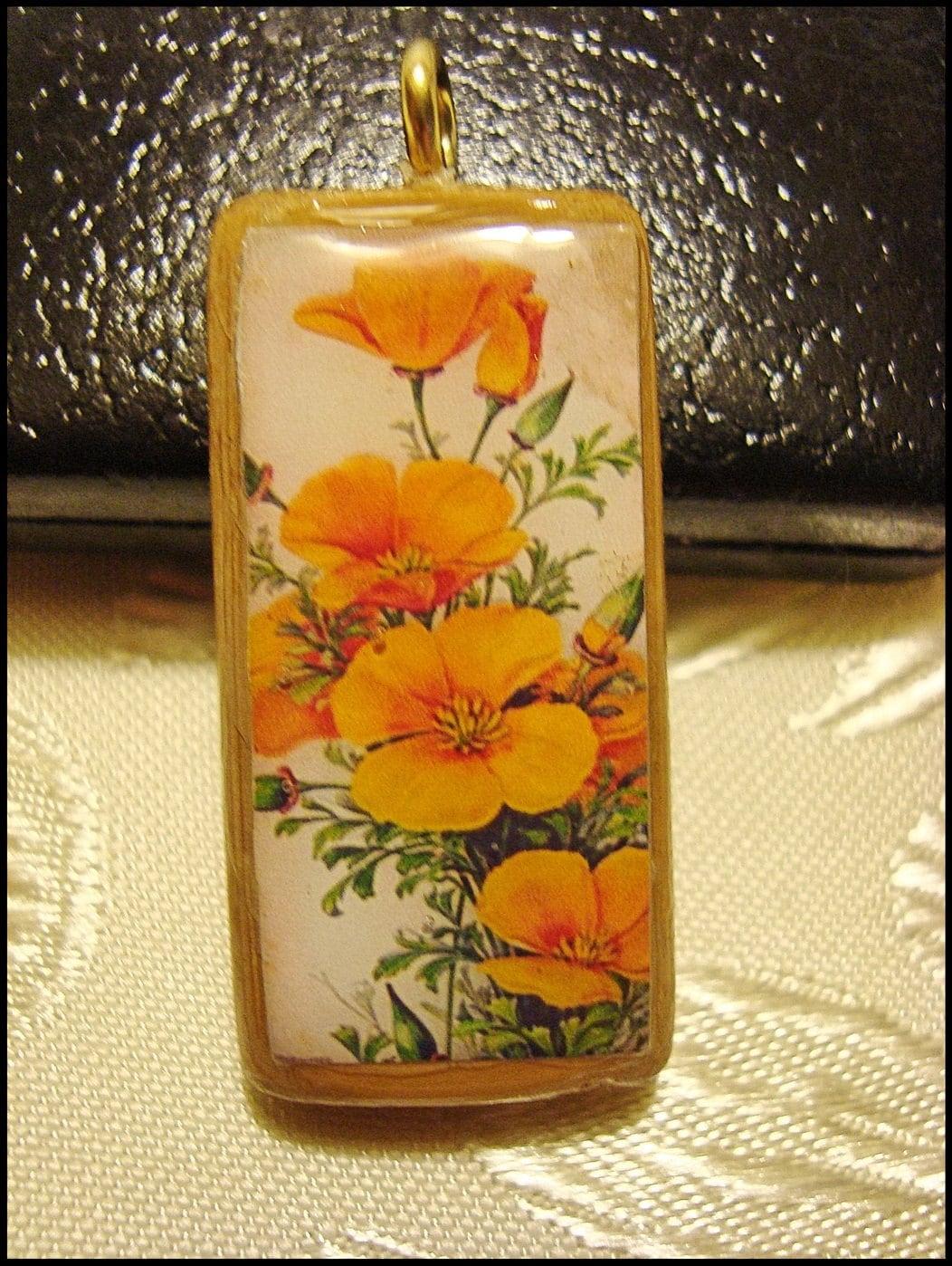 Vintage Print, Bamboo Pendant, Victorian  Orange Flowers