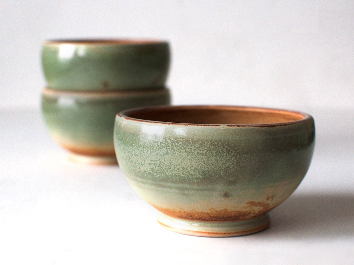 Trio of Green Bowls, Stoneware