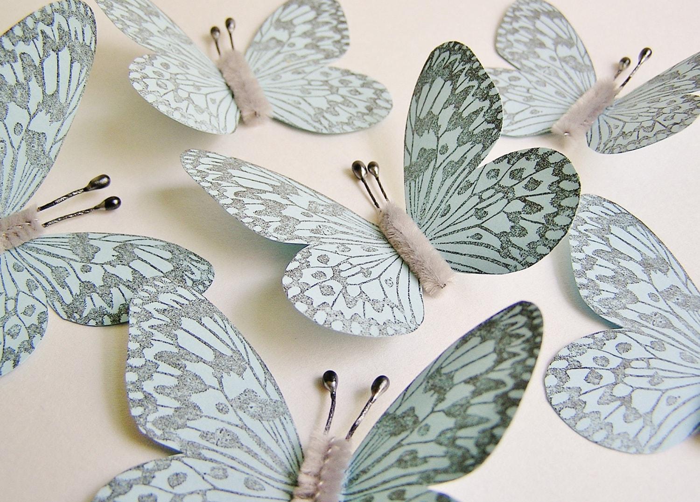 Pastel Blue/ Pewter Vintage style art nouveau Butterflies