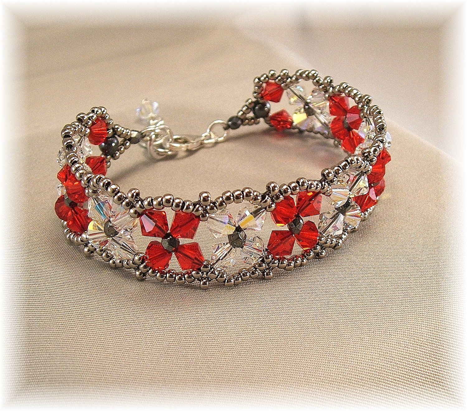 Light Siam Red and Crystal AB Bridesmaid Bracelet by Handwired from etsy.com