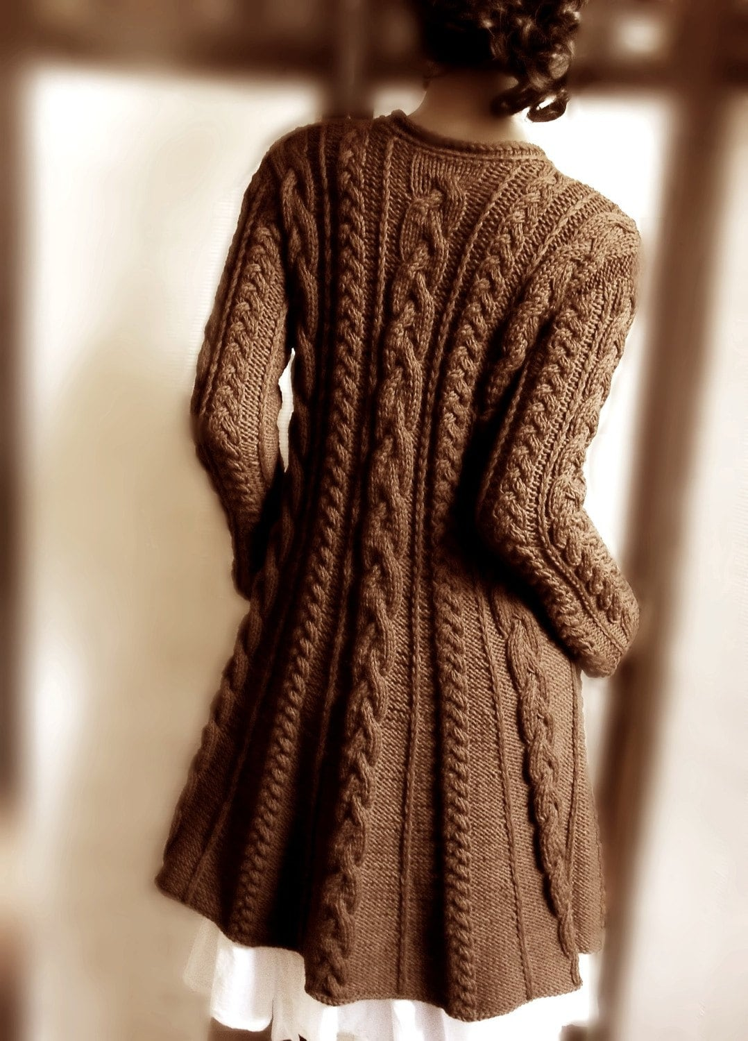 Handknitted Cabled A Line coat in pure wool Chocholate brown by Pilland