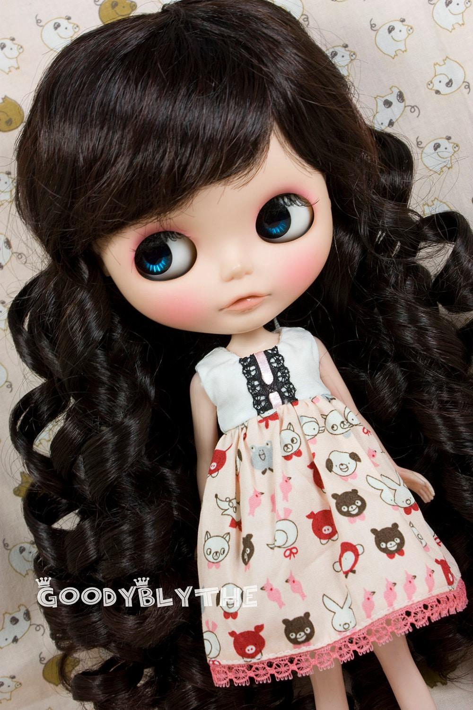 "12"" Goodyblythe Doll Hair Wig for Blythe Dark Brown Curl W315"