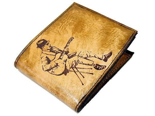 Mens Bifold Leather Wallet - Vintage Guitarist