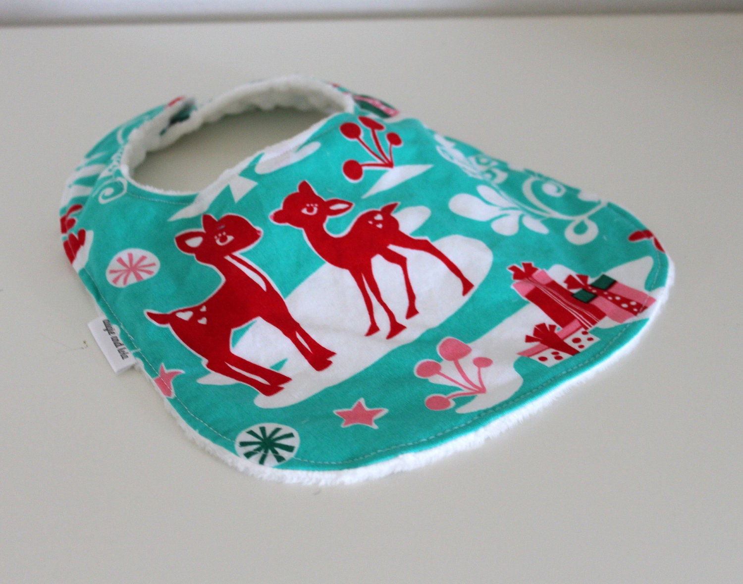 Baby Bib, Christmas Baby Bib, Minky Bib and Pearl Snap Closure
