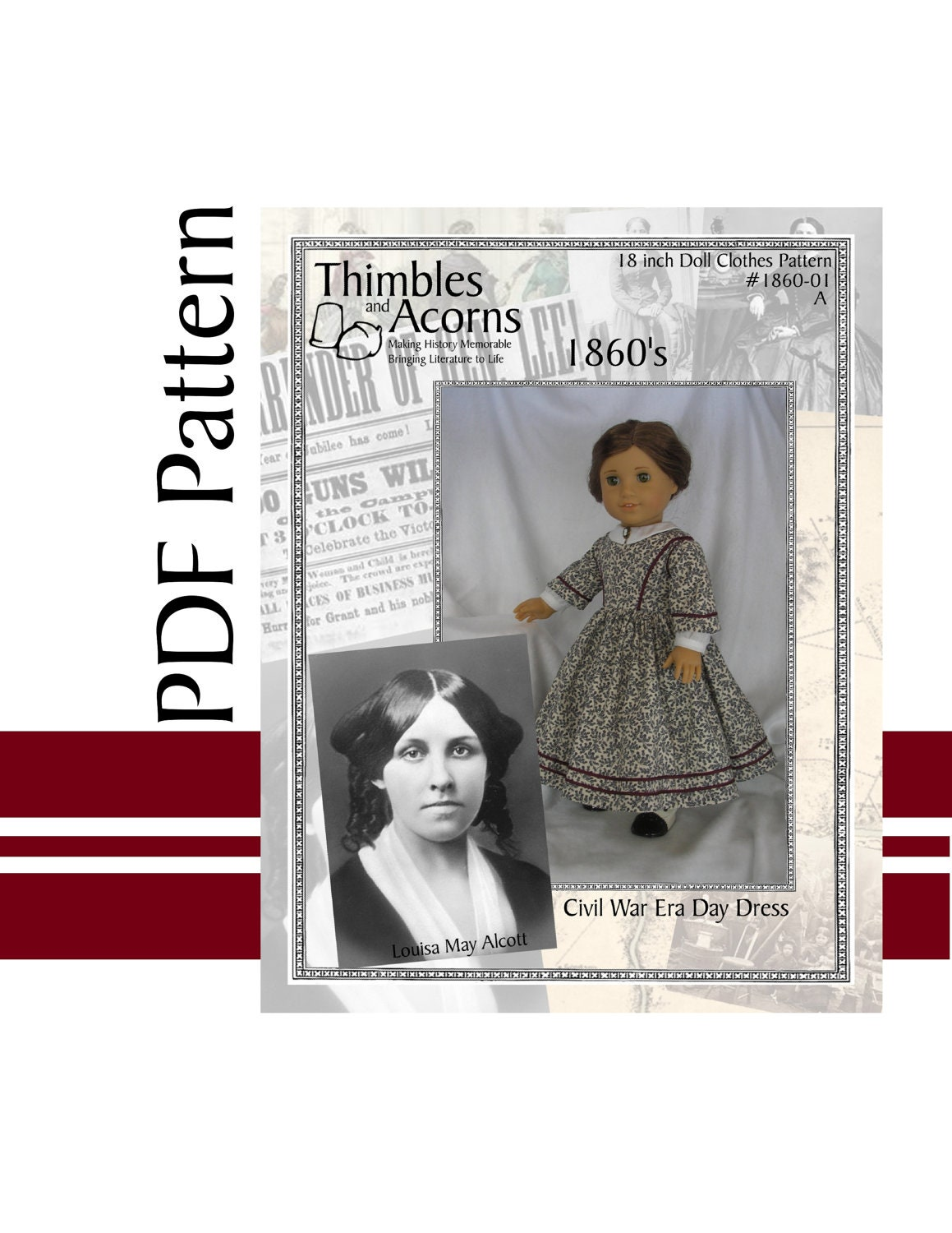 PDF Pattern for Civil War Era Day Dress 18 inch American Girl Doll