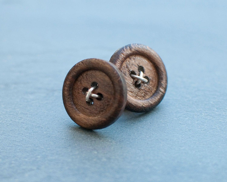 Dark Wood Button Cufflinks - IJustLoveButtons