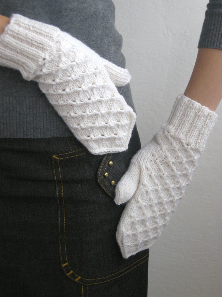 Hand knit white mittens for woman lace winter snow