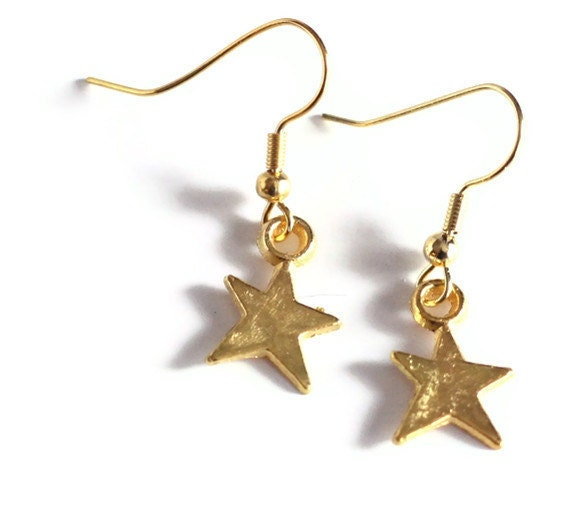 Gold Star Metal Charm Earrings
