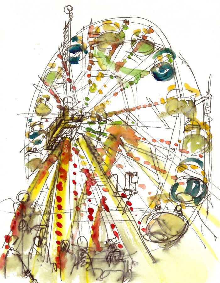 Ferris Wheel Watercolor Art, A rainbow carnival Sketch - 8x10 print