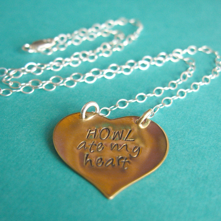 Howl's Moving Castle Necklace - Howl Ate My Heart in brass or copper and sterling silver