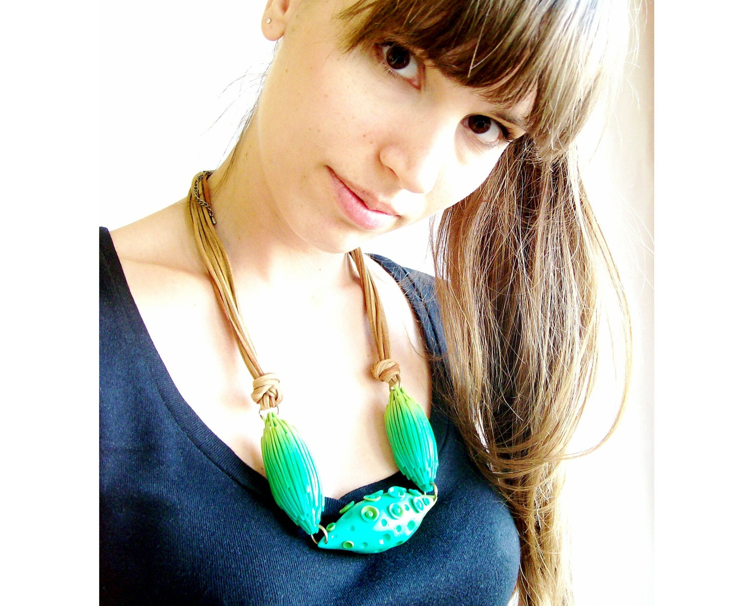 Bold chunky statement necklace clay green and aqua 'Sea Creatures' pods large beads quirky polymer clay organic shapes necklace - HunkiiDorii
