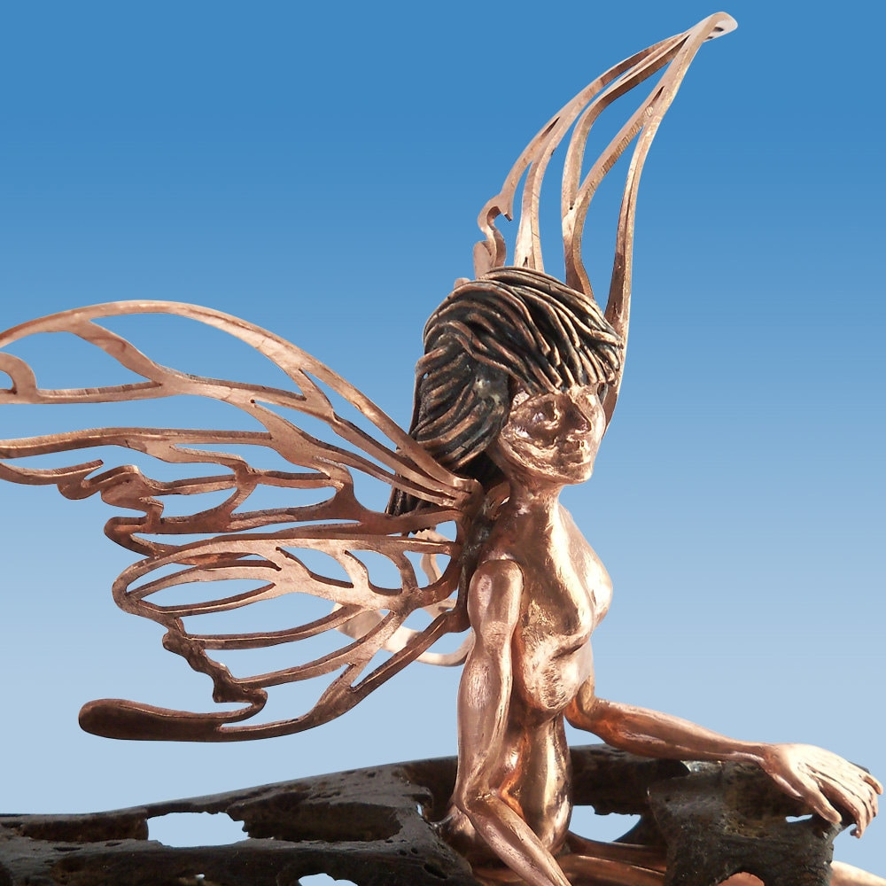 Waking Fairy, Copper and Cholla Cactus Wood Sculpture - LunarSkiesJewelry