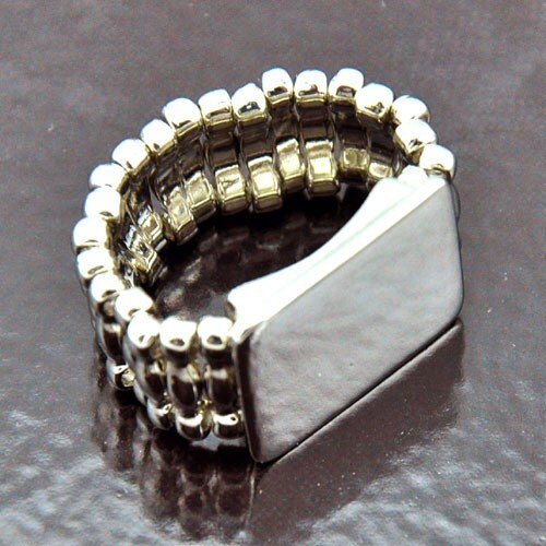 6 rings platform stretch band ring bases silver by ringrevival