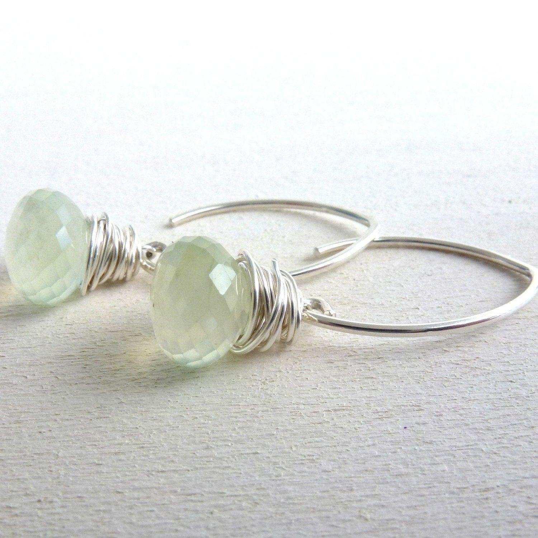 Prehnite Earrings Sterling Silver Wire Wrapped Briolette Jewelry Light Green - LittleAppleNY