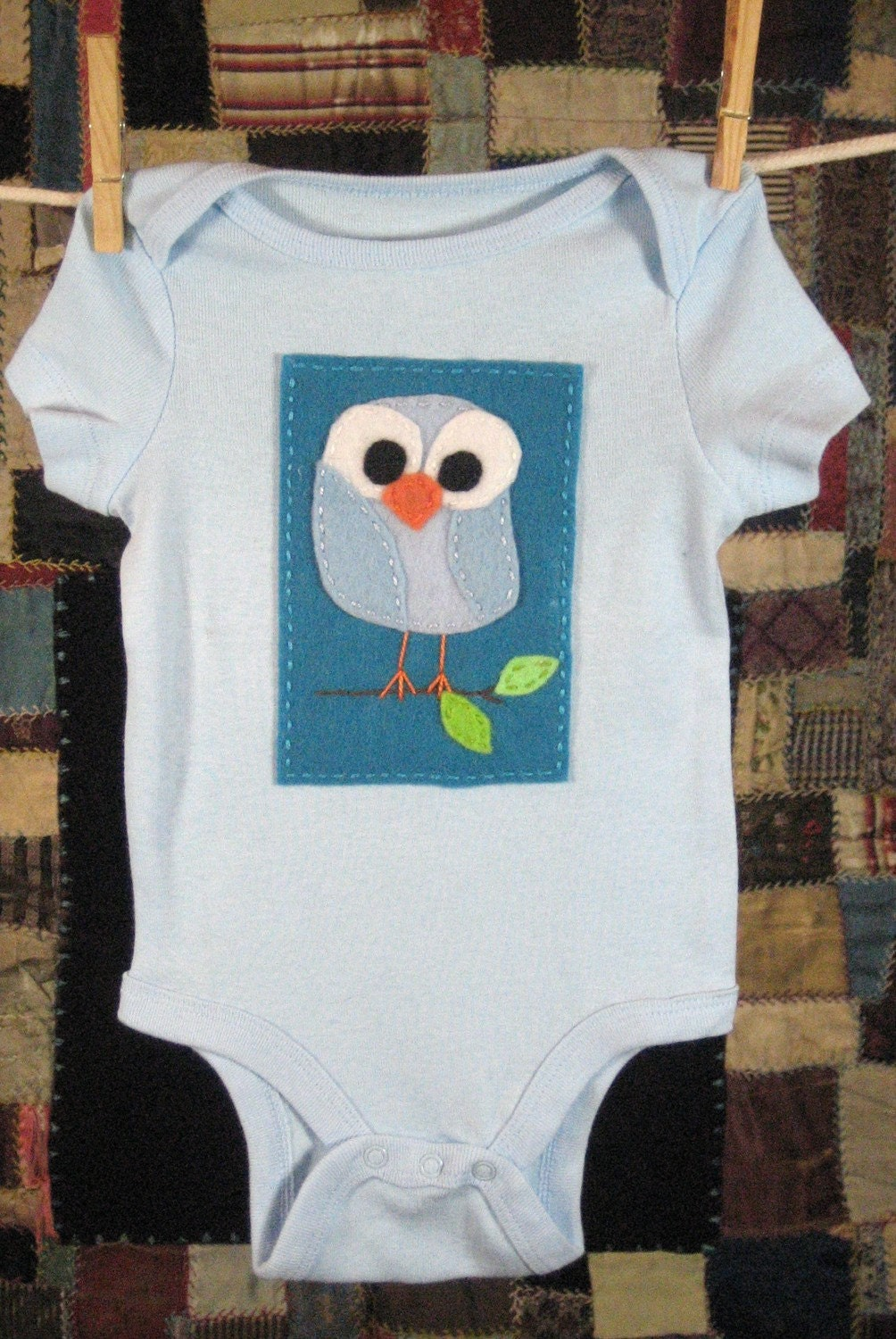 Light Blue Owl on Bright Blue on Light Blue Baby Bodysuit (size 3-6 mo.)