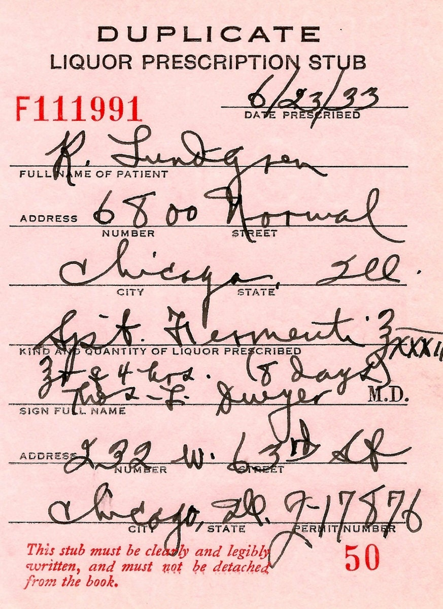 PROHIBITION Doctor's Whiskey Prescription Stub Medicinal Chicago IL Capone Vintage Pharmacy Bar