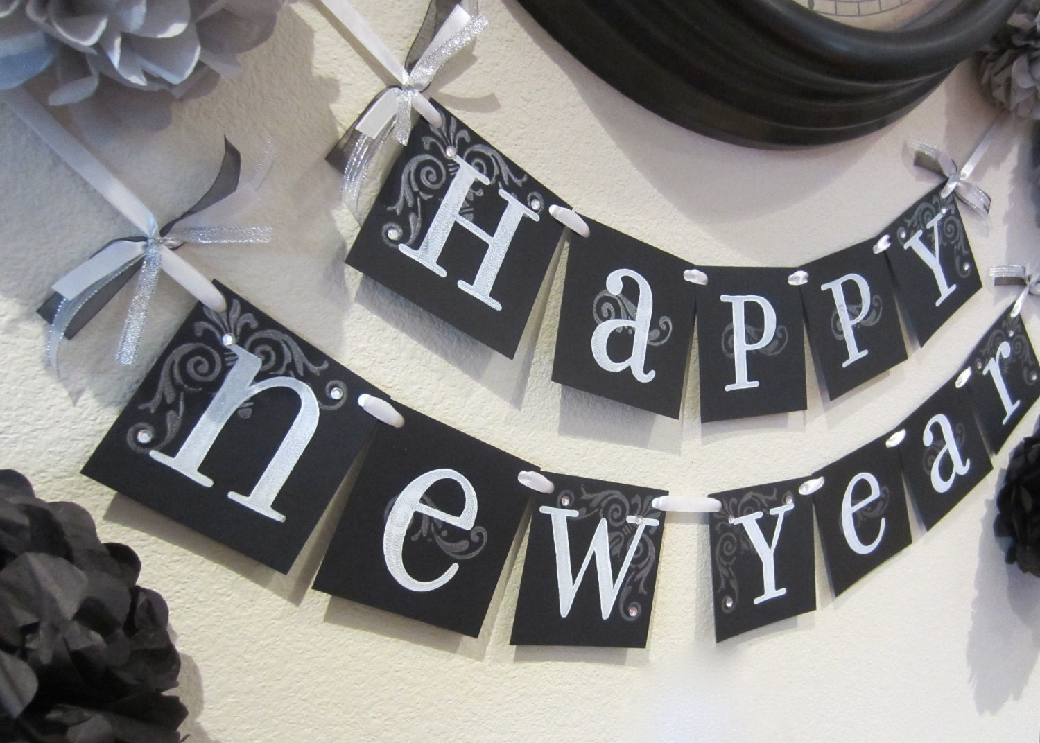 NEW YEARS sign, 2012 garland decoration wall hanging black and white FREE Shipping
