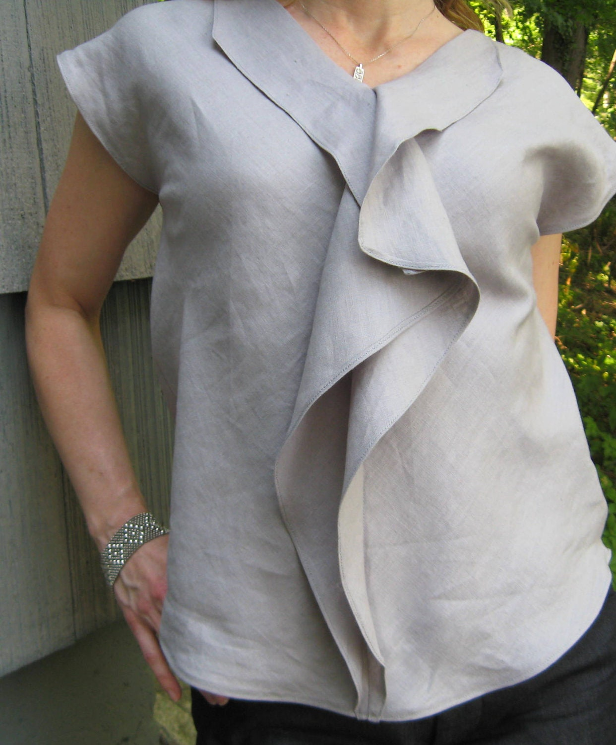 tunic butterfly blouse linen gray navy blue for women made to order free shipping - betsybdesign