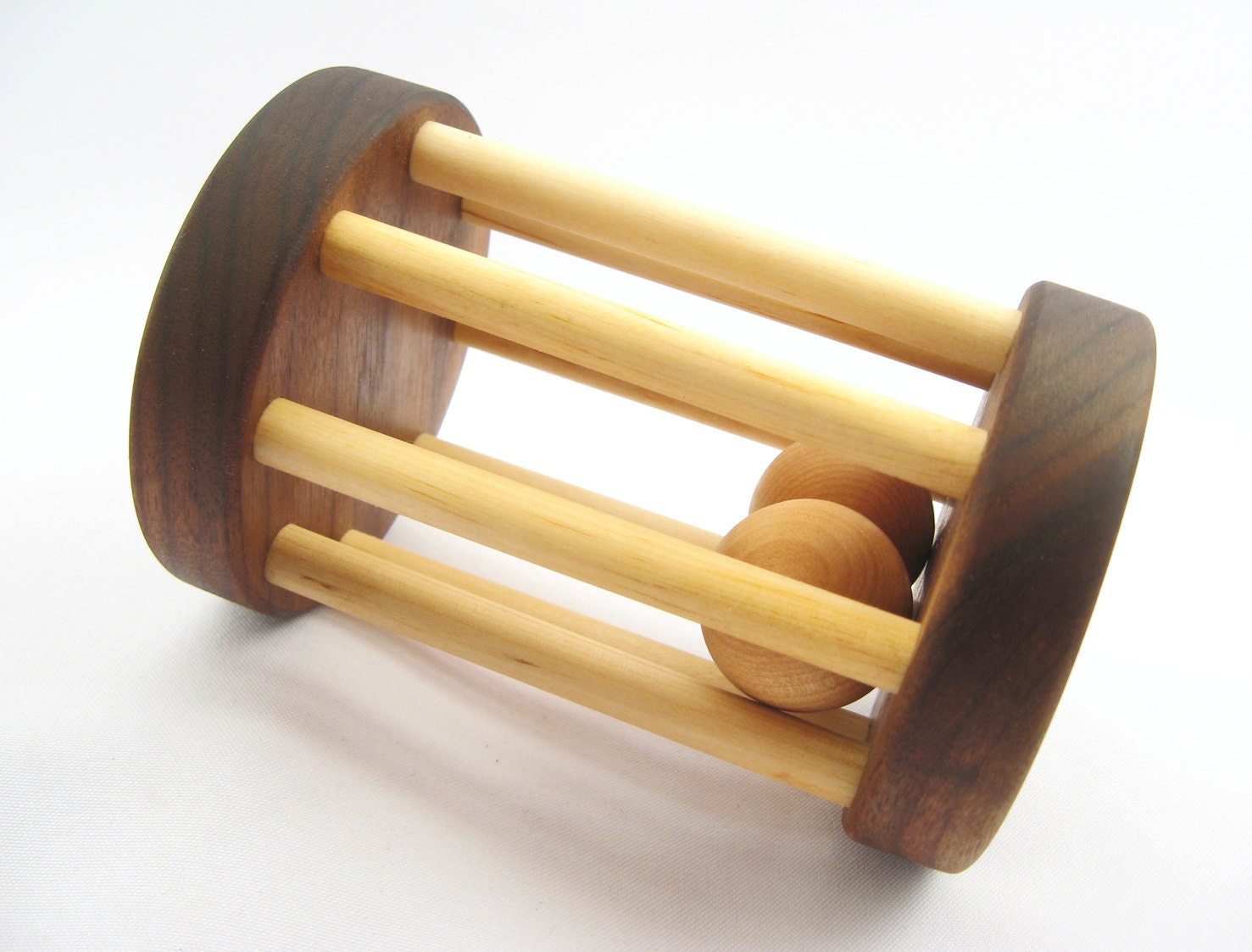 wood rattle for baby, all natural wooden toy, organic finish, teether safe, fun for eco-friendly baby, toddler, children