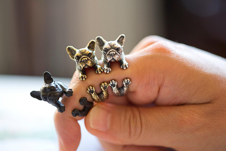 KopoMetal handmade bulldog ring black / silver / golden colour