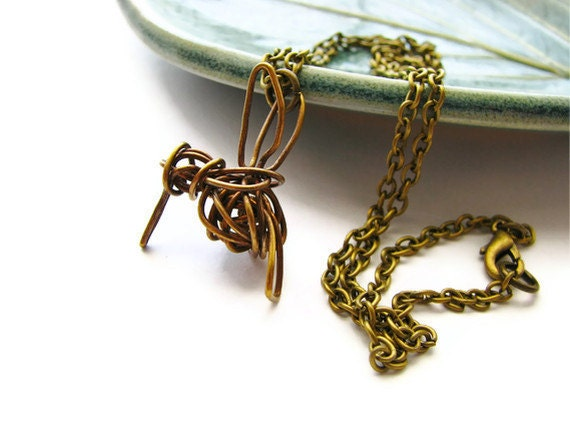 Brass Hummingbird Necklace Abstract Wire Wrapped - heversonart