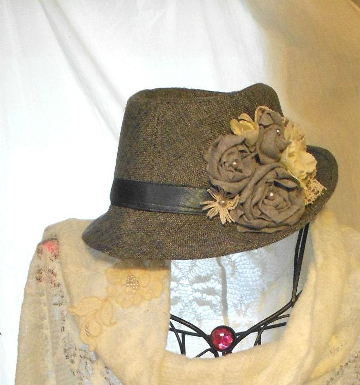 Романтический Tweed потертый шик Роза Hat Charcole Серый Серый Сельский цыганский скотнице женские шляпы Винтажный стиль кружевной ткани увеличилась