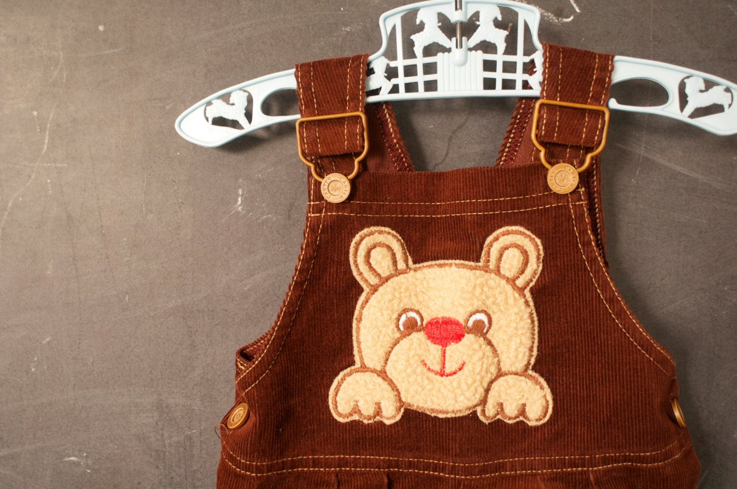 vtg brown Corduroy toddler overalls, 12 months, Carters, with FUZZY bear - LaDiDottie