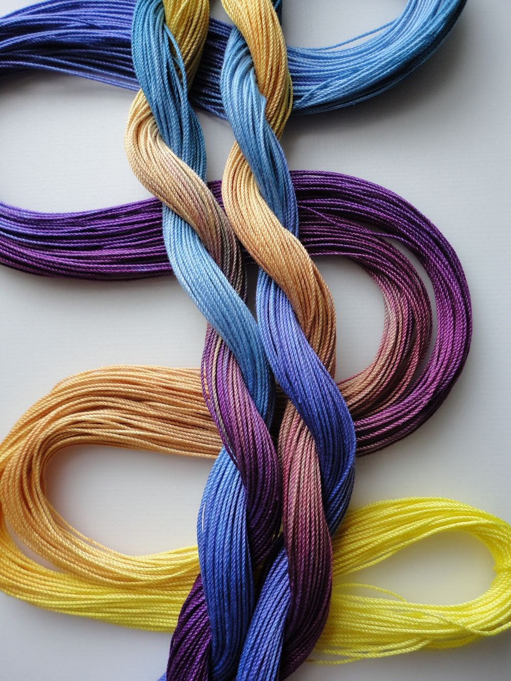 "Hand dyed tatting crochet thread size 20 ""Pansy"""