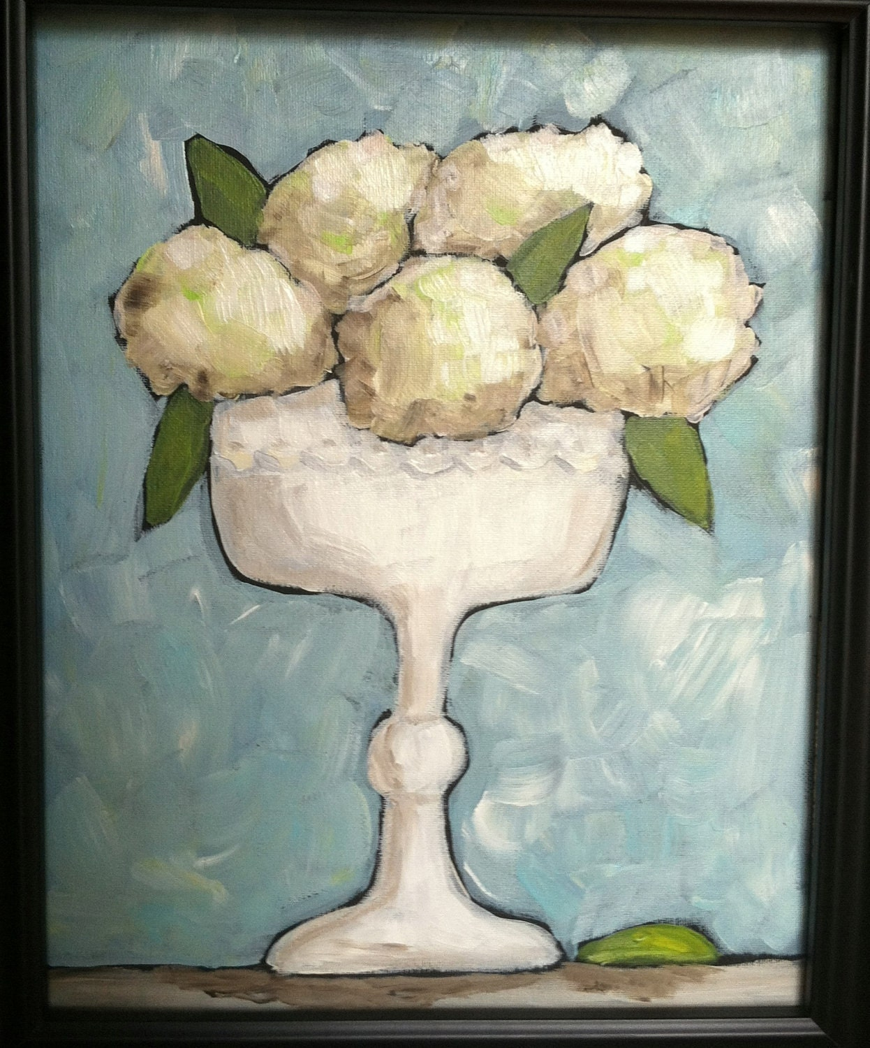Framed Hydrangeas in a Compote