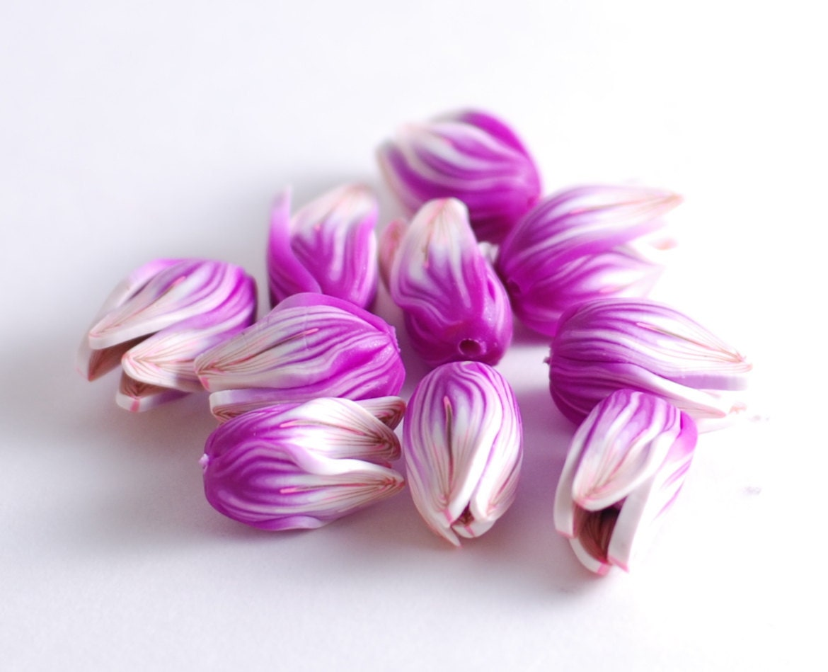 Handmade polymer clay beads - purple flower buds - 10 pcs - Made to order