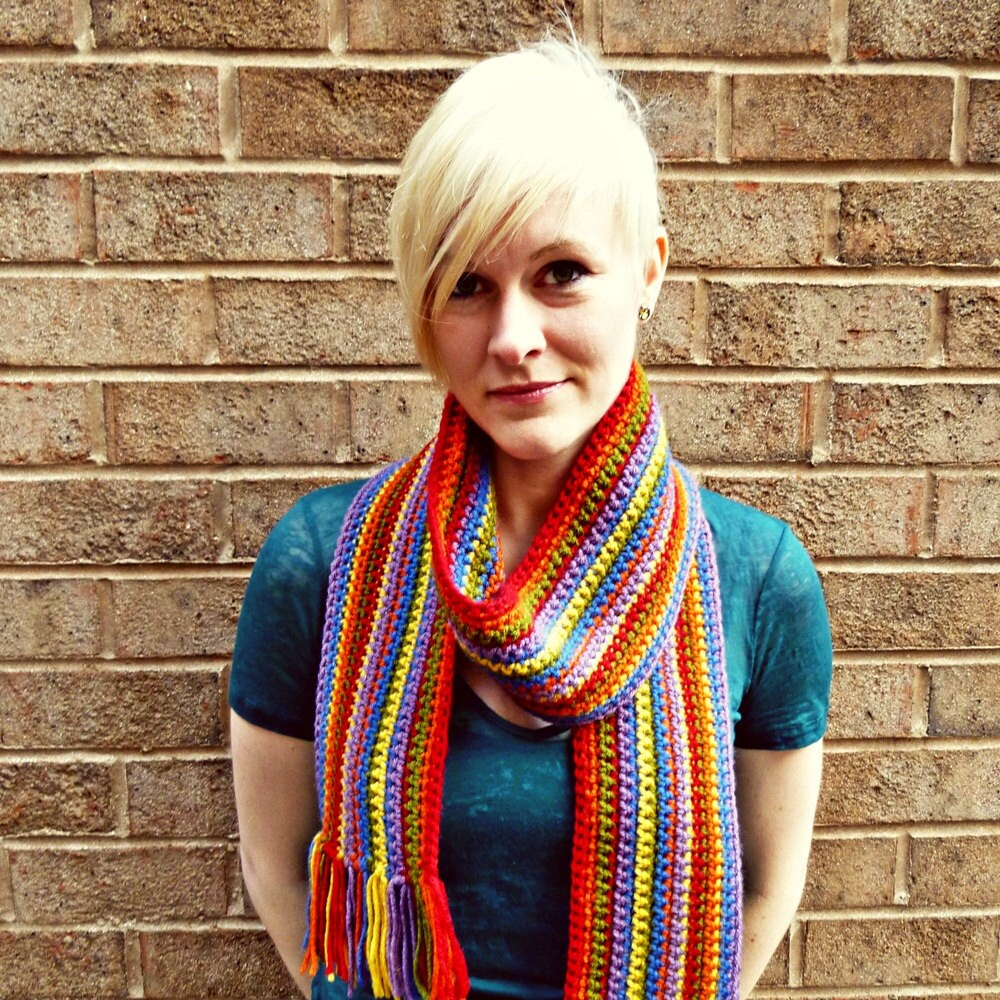 Special Olympics Rib Crochet Striped Scarf Crochet Pattern | Red Heart