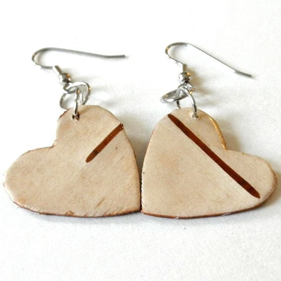 Birch Bark Earrings...sweet little hearts