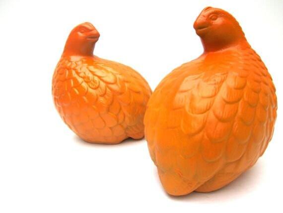 Autumn Orange Quails Birds